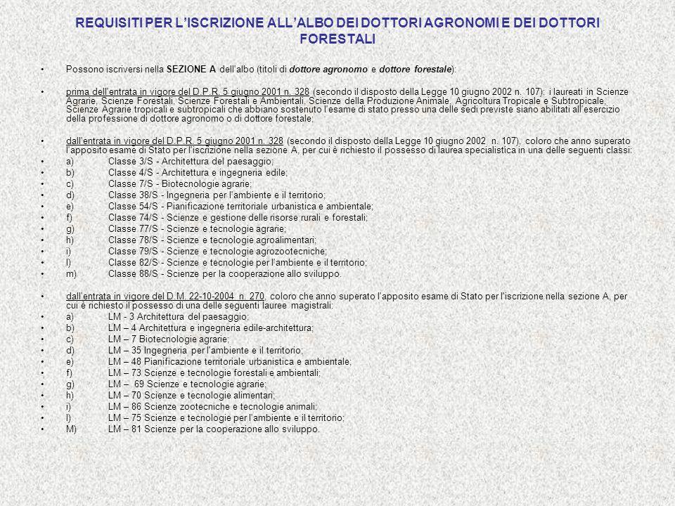 REQUISITI PER LISCRIZIONE ALLALBO DEI DOTTORI AGRONOMI E DEI DOTTORI FORESTALI Possono iscriversi nella SEZIONE A dell'albo (titoli di dottore agronom