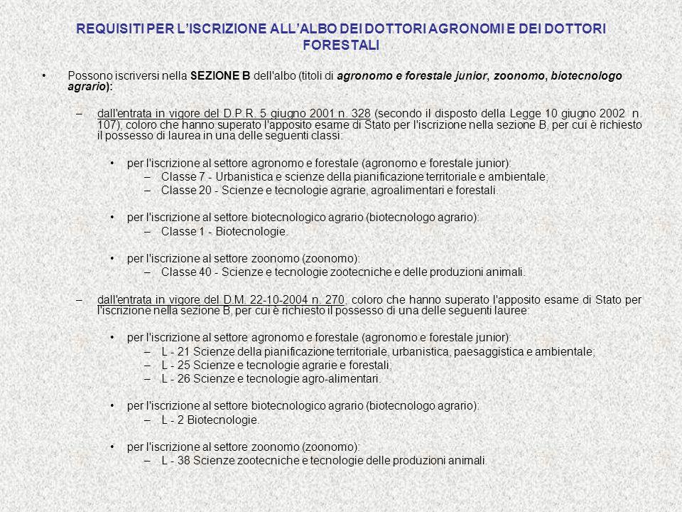 REQUISITI PER LISCRIZIONE ALLALBO DEI DOTTORI AGRONOMI E DEI DOTTORI FORESTALI Possono iscriversi nella SEZIONE B dell'albo (titoli di agronomo e fore