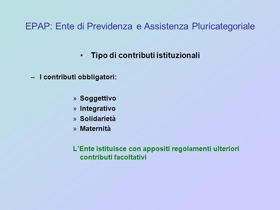 EPAP: Ente di Previdenza e Assistenza Pluricategoriale Tipo di contributi istituzionali –I contributi obbligatori: »Soggettivo »Integrativo »Solidarie
