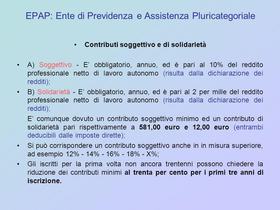 EPAP: Ente di Previdenza e Assistenza Pluricategoriale Contributi soggettivo e di solidarietà A) Soggettivo - E obbligatorio, annuo, ed è pari al 10%