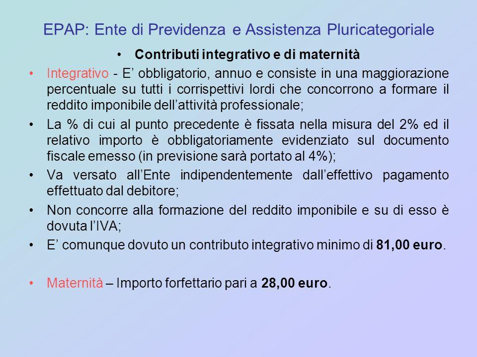 EPAP: Ente di Previdenza e Assistenza Pluricategoriale Contributi integrativo e di maternità Integrativo - E obbligatorio, annuo e consiste in una mag