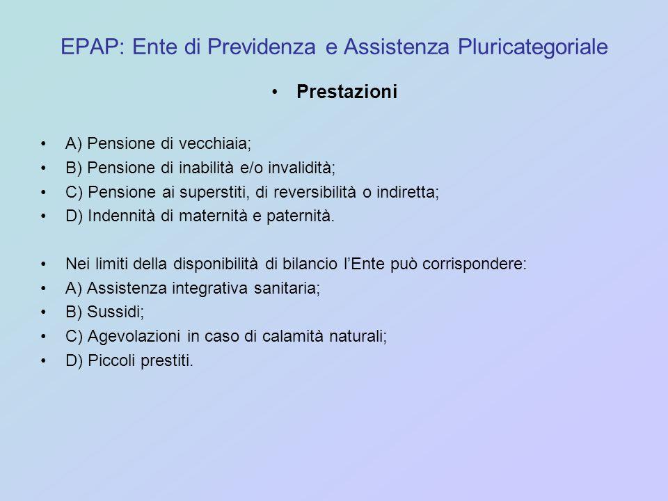 EPAP: Ente di Previdenza e Assistenza Pluricategoriale Prestazioni A) Pensione di vecchiaia; B) Pensione di inabilità e/o invalidità; C) Pensione ai s