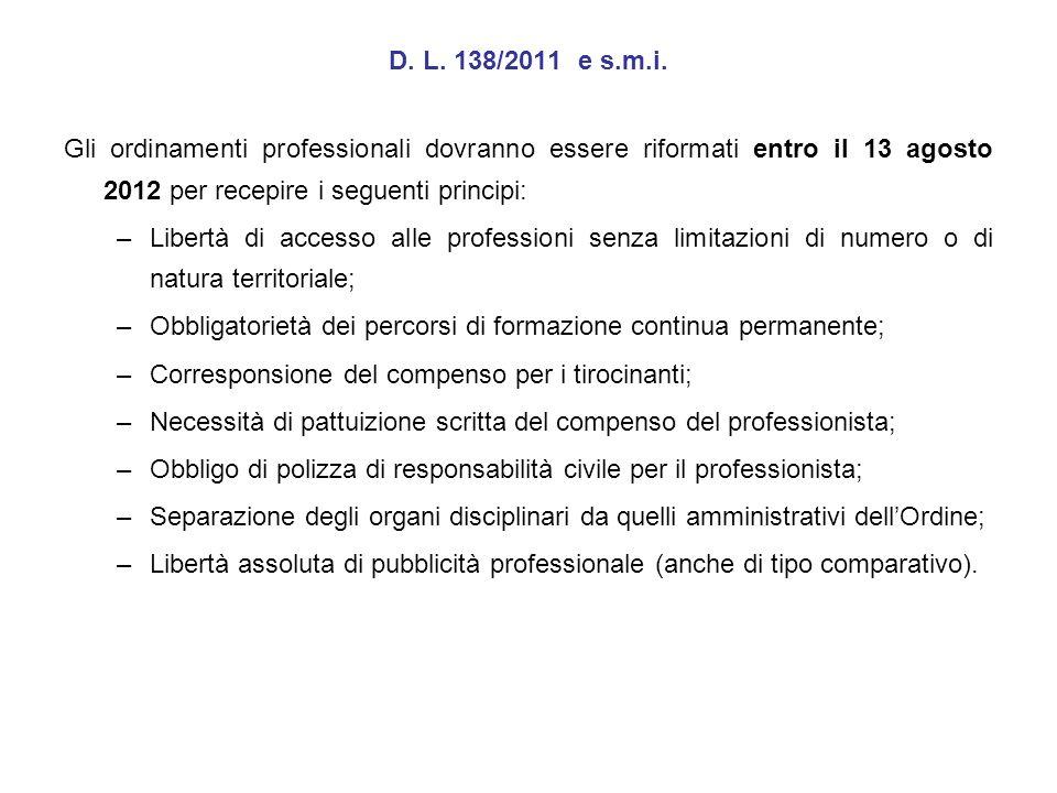 D. L. 138/2011 e s.m.i. Gli ordinamenti professionali dovranno essere riformati entro il 13 agosto 2012 per recepire i seguenti principi: –Libertà di