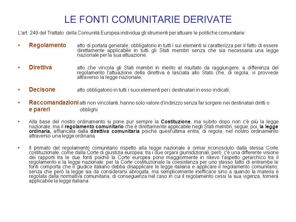 LE FONTI COMUNITARIE DERIVATE L'art. 249 del Trattato della Comunità Europea individua gli strumenti per attuare le politiche comunitarie: Regolamento