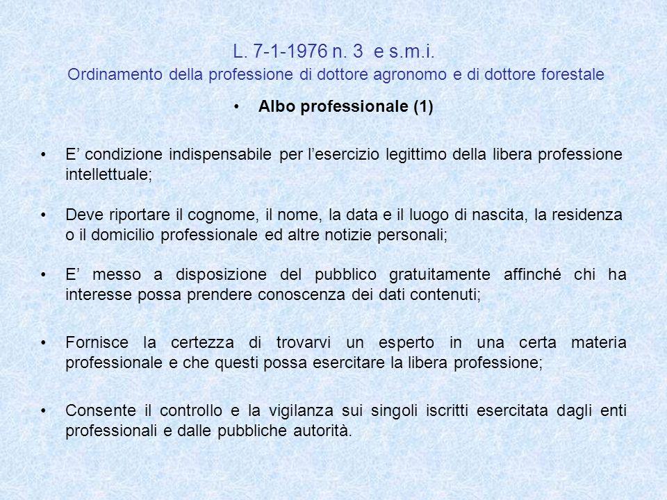 L. 7-1-1976 n. 3 e s.m.i. Ordinamento della professione di dottore agronomo e di dottore forestale Albo professionale (1) E condizione indispensabile