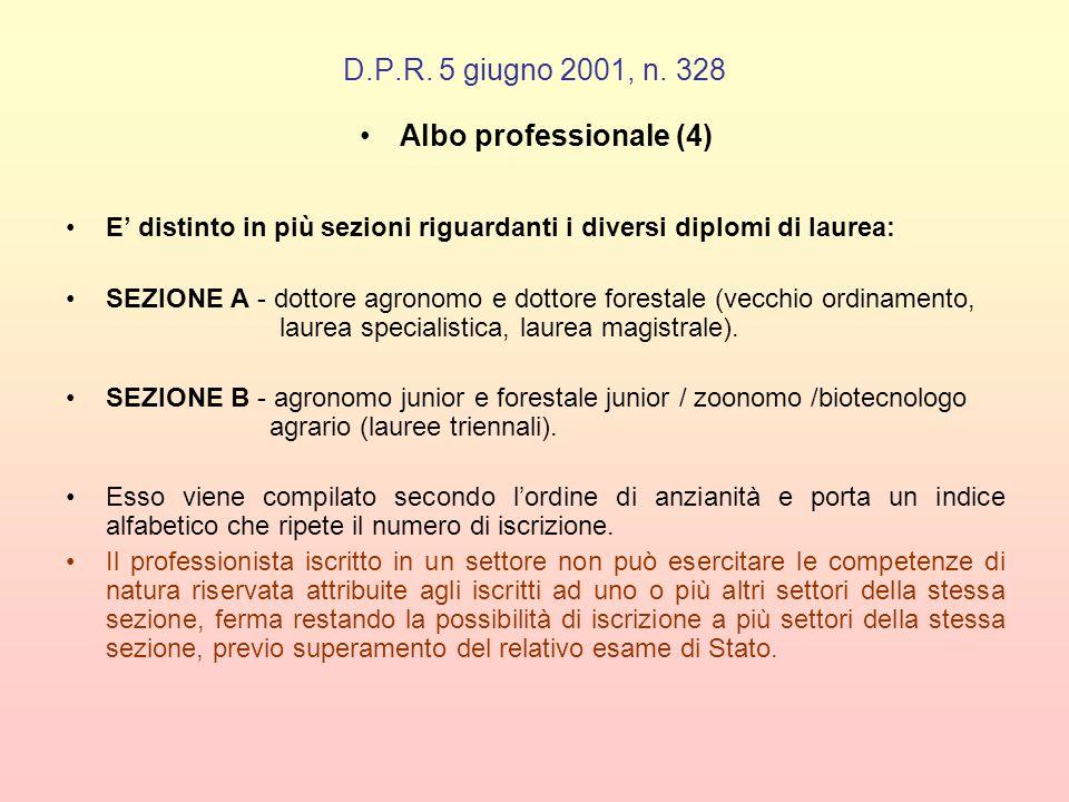 D.P.R. 5 giugno 2001, n. 328 Albo professionale (4) E distinto in più sezioni riguardanti i diversi diplomi di laurea: SEZIONE A - dottore agronomo e