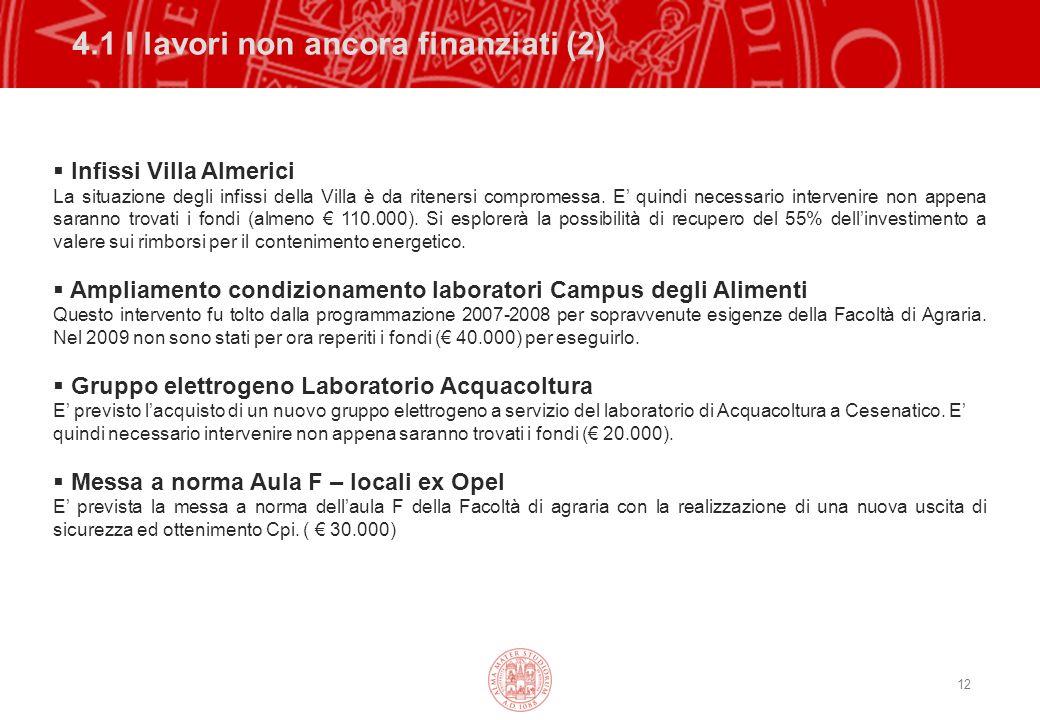12 4.1 I lavori non ancora finanziati (2) Infissi Villa Almerici La situazione degli infissi della Villa è da ritenersi compromessa.