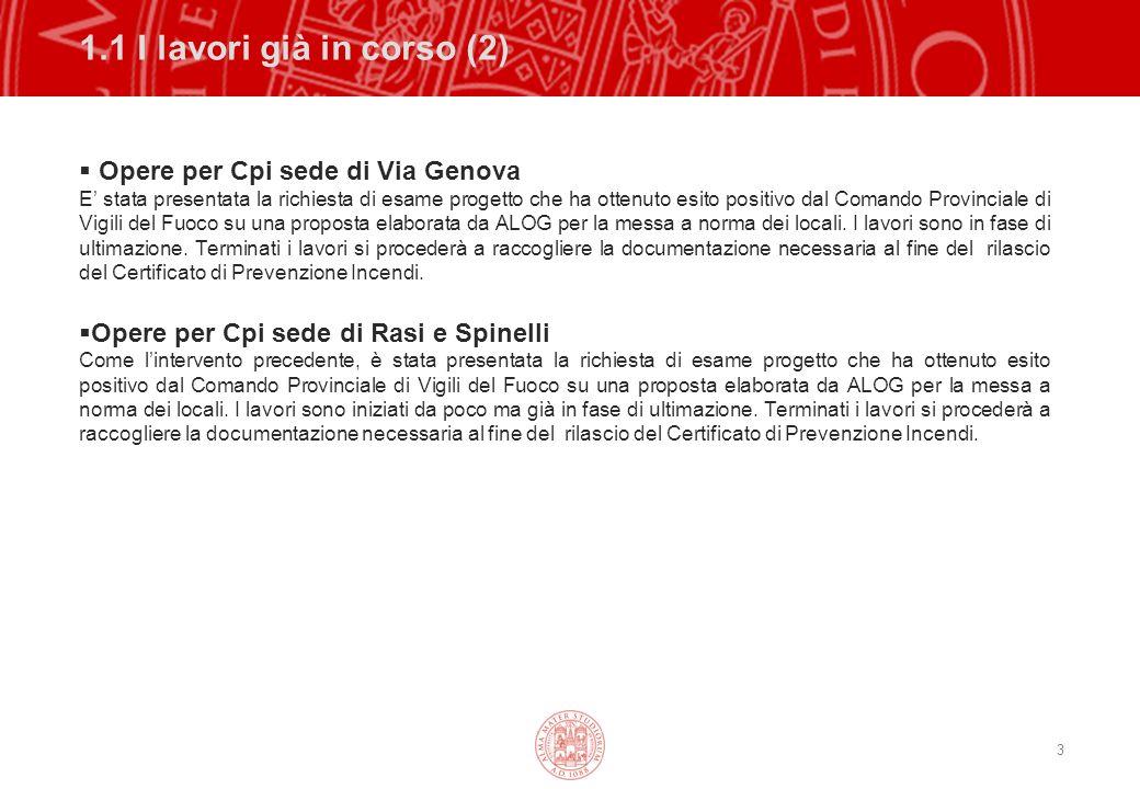 3 1.1 I lavori già in corso (2) Opere per Cpi sede di Via Genova E stata presentata la richiesta di esame progetto che ha ottenuto esito positivo dal