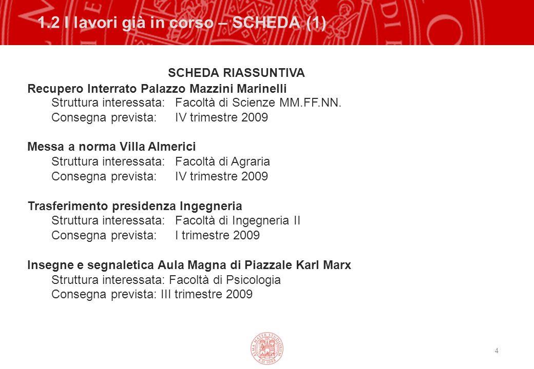 4 1.2 I lavori già in corso – SCHEDA (1) SCHEDA RIASSUNTIVA Recupero Interrato Palazzo Mazzini Marinelli Struttura interessata: Facoltà di Scienze MM.FF.NN.