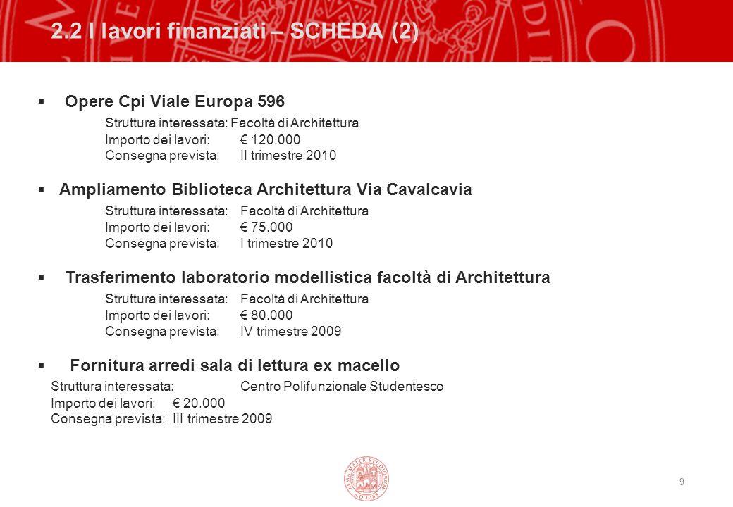 9 2.2 I lavori finanziati – SCHEDA (2) Opere Cpi Viale Europa 596 Struttura interessata: Facoltà di Architettura Importo dei lavori: 120.000 Consegna