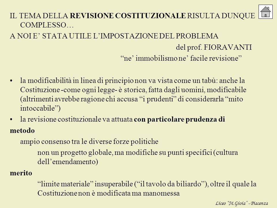 XVI LEGISLATURA (centro-destra, Governo Berlusconi): eccoci al 2008…, ai nostri giorni… nel programma di governo si parla di RIFORME COSTITUZIONALI… Q