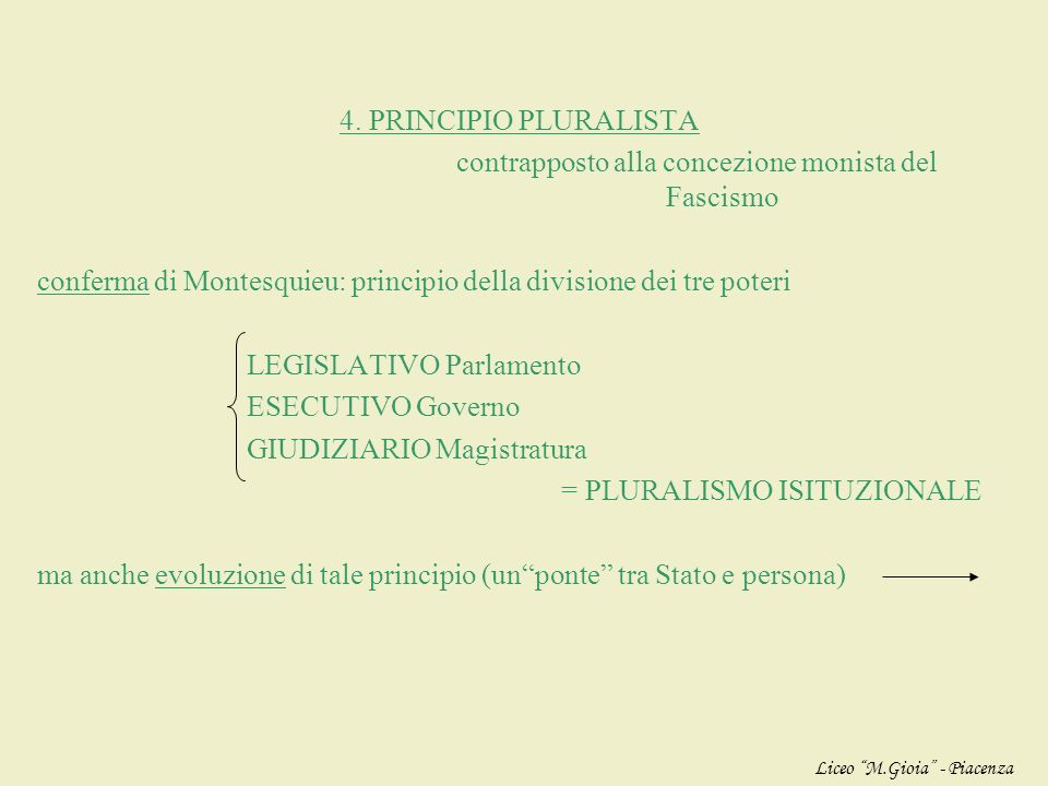 3. PRINCIPIO INTERNAZIONALISTA o SUPERNAZIONALISTA obiettivo: creare una PACE solida e duratura contrapposto al Fascismo che propugnava guerra e polit