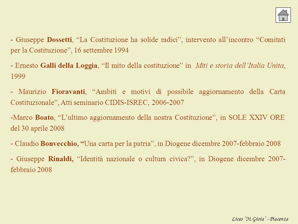 - Costituzione della Repubblica Italiana, in edizione aggiornata - Norberto Bobbio, Le idee cardine della Costituzione italiana, testo scritto come in