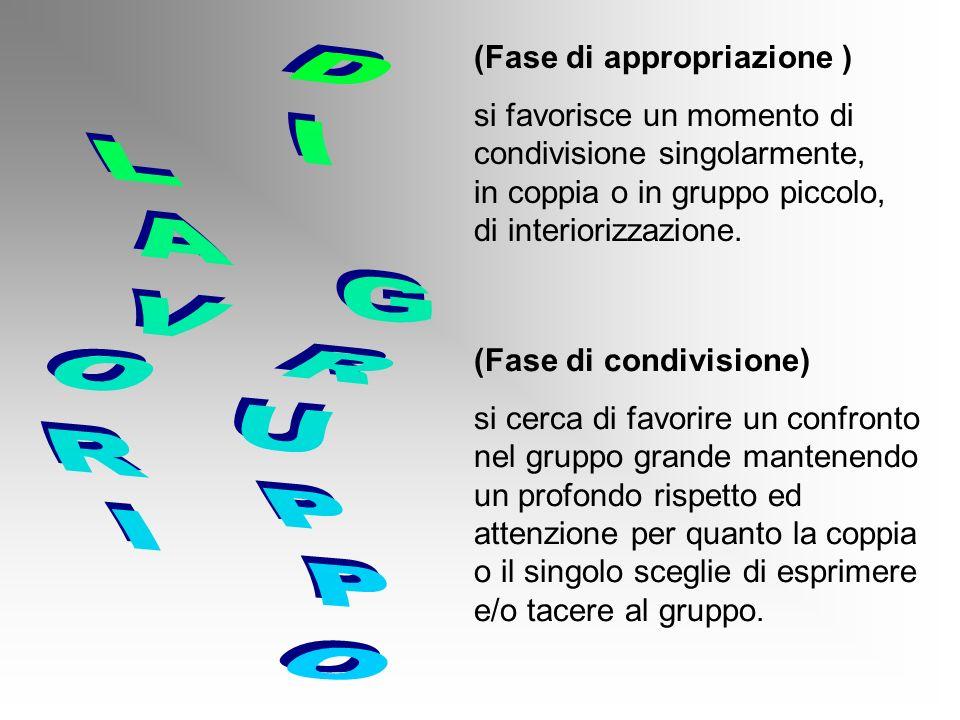 (Fase di appropriazione ) si favorisce un momento di condivisione singolarmente, in coppia o in gruppo piccolo, di interiorizzazione.