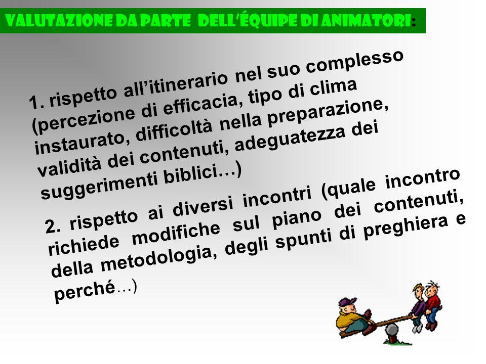 Valutazione da parte delléquipe di animatori: 1.