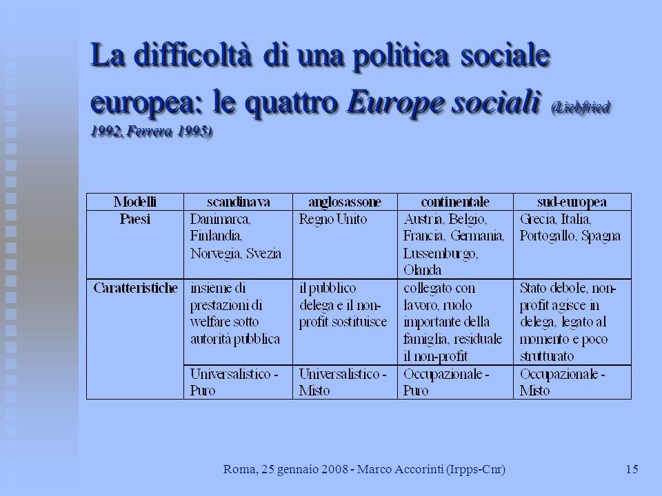 15Roma, 25 gennaio 2008 - Marco Accorinti (Irpps-Cnr) La difficoltà di una politica sociale europea: le quattro Europe sociali (Liebfried 1992, Ferrera 1995)