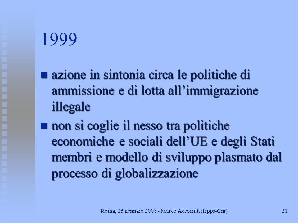21Roma, 25 gennaio 2008 - Marco Accorinti (Irpps-Cnr) 1999 n azione in sintonia circa le politiche di ammissione e di lotta allimmigrazione illegale n non si coglie il nesso tra politiche economiche e sociali dellUE e degli Stati membri e modello di sviluppo plasmato dal processo di globalizzazione