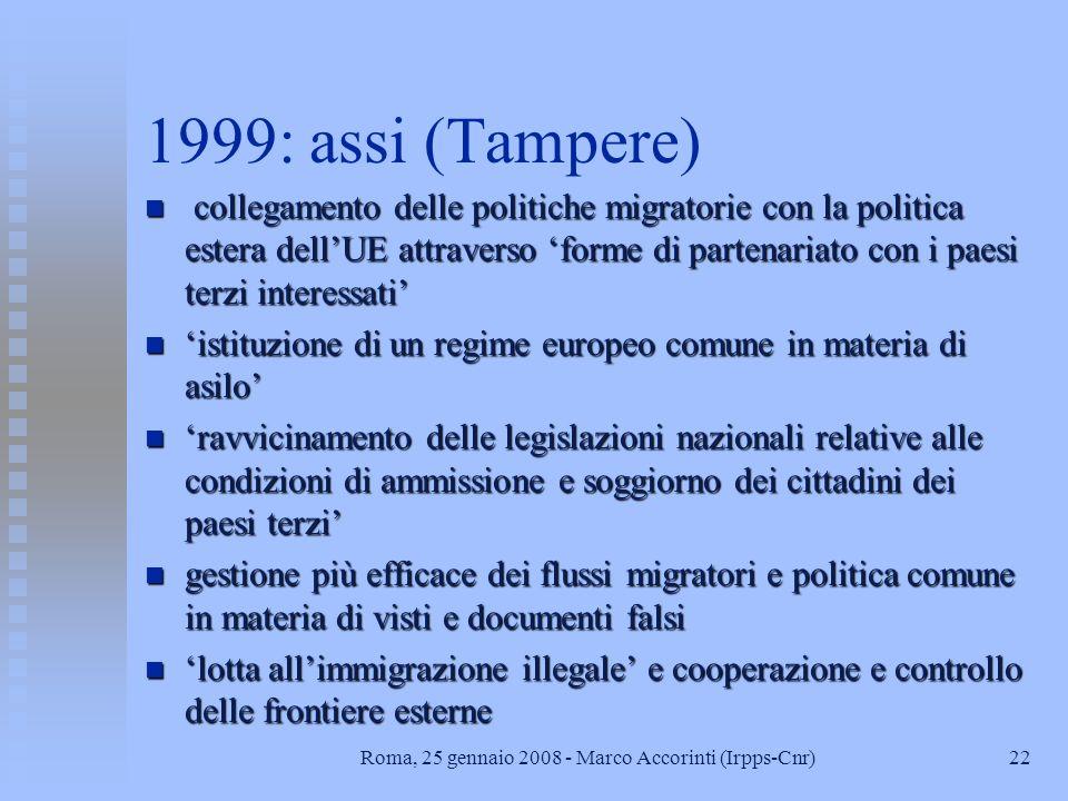21Roma, 25 gennaio 2008 - Marco Accorinti (Irpps-Cnr) 1999 n azione in sintonia circa le politiche di ammissione e di lotta allimmigrazione illegale n