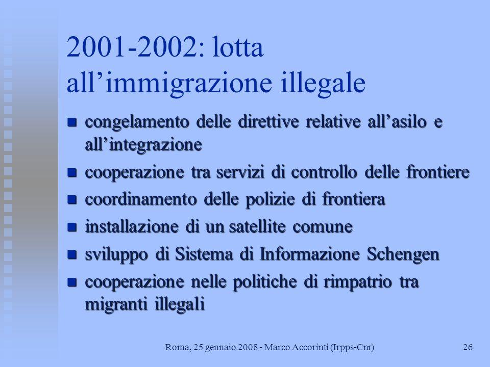 25Roma, 25 gennaio 2008 - Marco Accorinti (Irpps-Cnr) 2001: MAC: linee guida n adozione di approccio generale che contempli diverse categorie di migra
