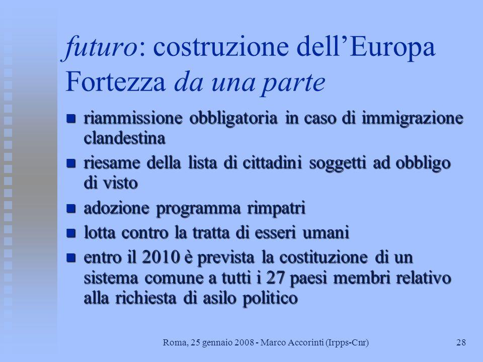 27Roma, 25 gennaio 2008 - Marco Accorinti (Irpps-Cnr) Trattato di Roma del 2004 n n considera la materia immigrazione come uno degli elementi dellospa