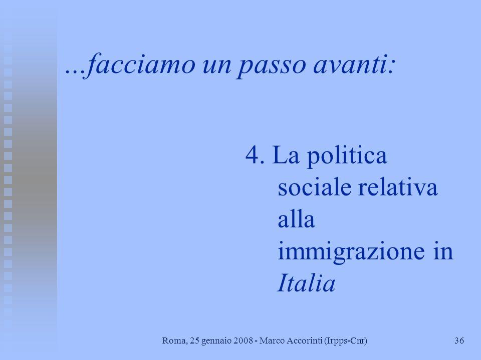 35Roma, 25 gennaio 2008 - Marco Accorinti (Irpps-Cnr) Testi di riferimento n Stefano Baldi, Raimondo Cagiano de Azevedo, 2005, La popolazione italiana