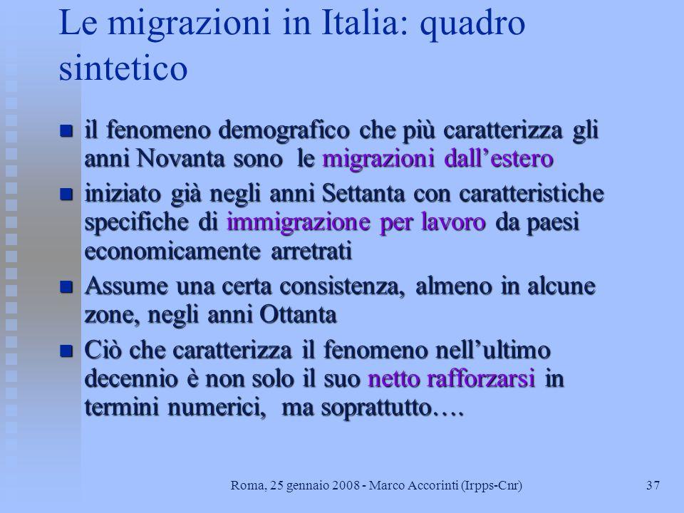 36Roma, 25 gennaio 2008 - Marco Accorinti (Irpps-Cnr)...facciamo un passo avanti: 4. La politica sociale relativa alla immigrazione in Italia
