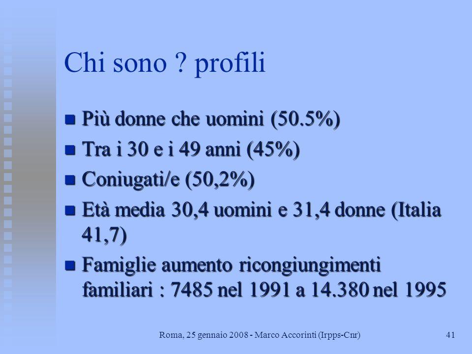 40Roma, 25 gennaio 2008 - Marco Accorinti (Irpps-Cnr) Quanti sono ? n Censimento 1991 356mila stranieri residenti: 6 per 1000 italiani n 288mila tempo