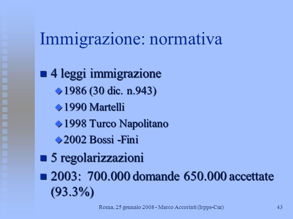 43Roma, 25 gennaio 2008 - Marco Accorinti (Irpps-Cnr) Immigrazione: normativa n 4 leggi immigrazione u 1986 (30 dic.