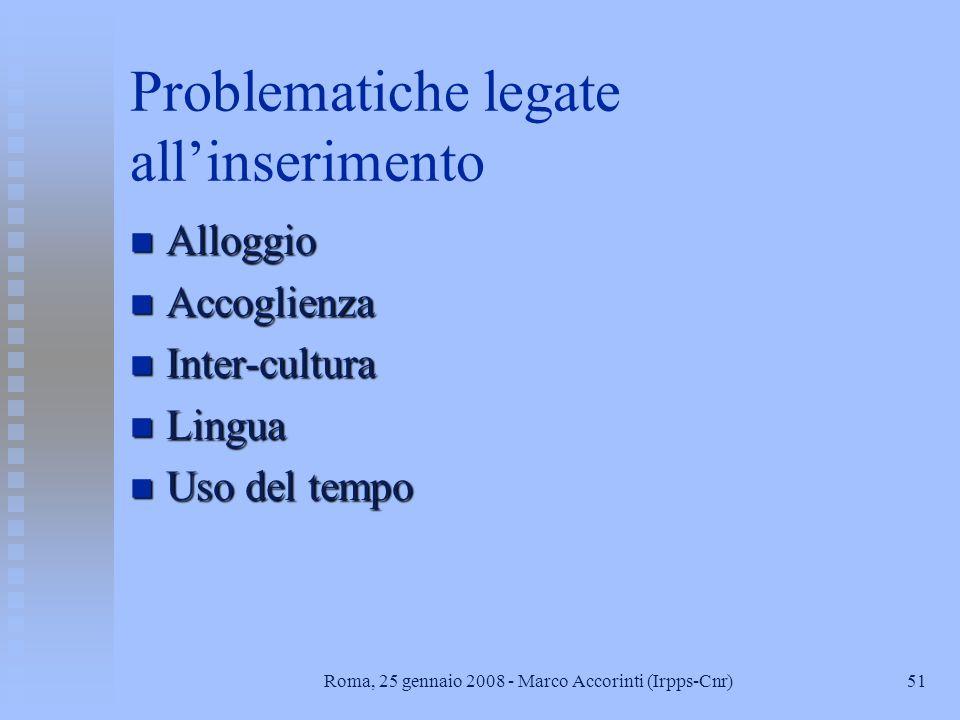 51Roma, 25 gennaio 2008 - Marco Accorinti (Irpps-Cnr) Problematiche legate allinserimento n Alloggio n Accoglienza n Inter-cultura n Lingua n Uso del tempo
