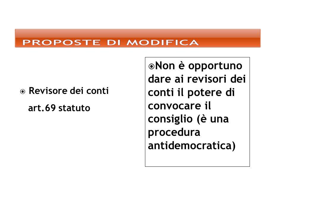 Revisore dei conti art.69 statuto Non è opportuno dare ai revisori dei conti il potere di convocare il consiglio (è una procedura antidemocratica)