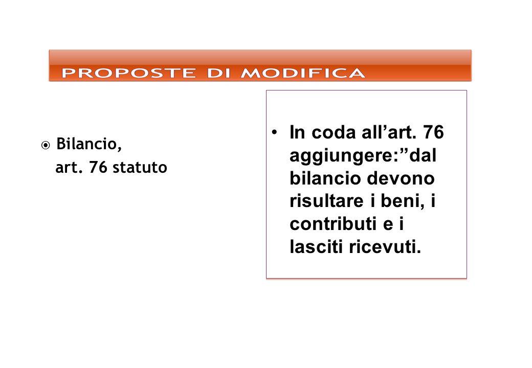 In coda allart. 76 aggiungere:dal bilancio devono risultare i beni, i contributi e i lasciti ricevuti. Bilancio, art. 76 statuto