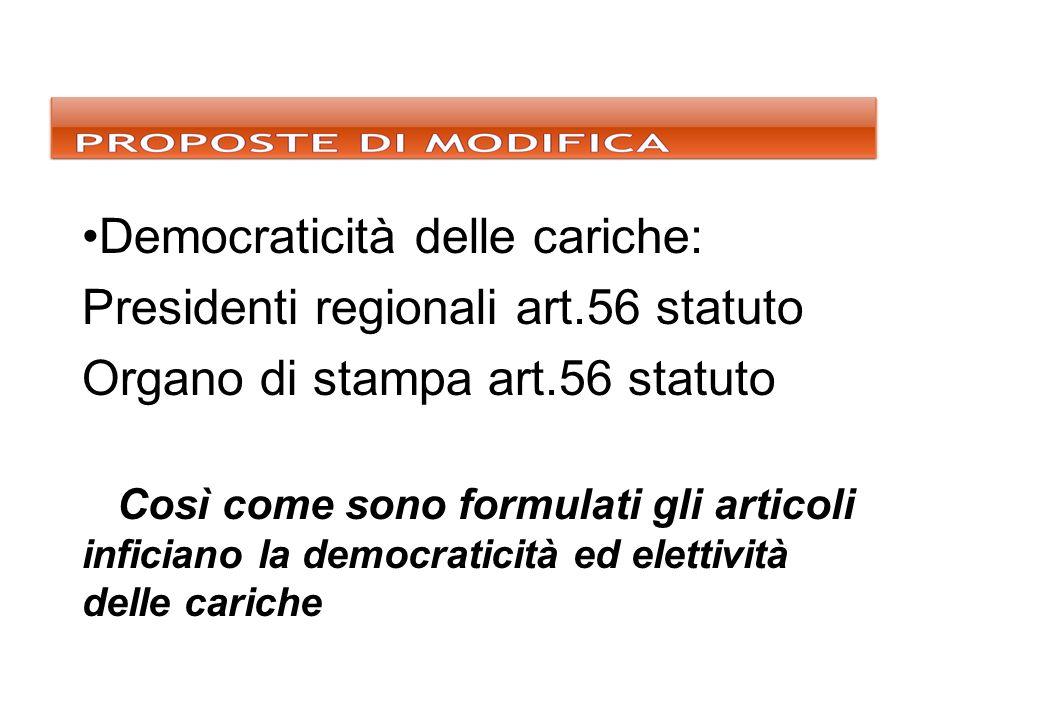 Democraticità delle cariche: Presidenti regionali art.56 statuto Organo di stampa art.56 statuto Così come sono formulati gli articoli inficiano la de