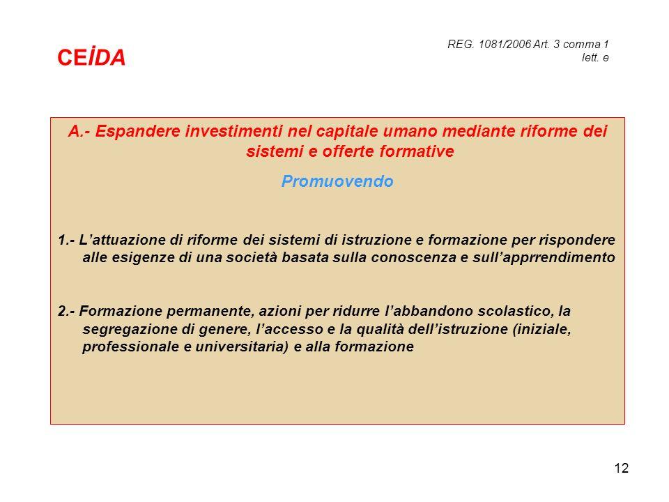 12 A.- Espandere investimenti nel capitale umano mediante riforme dei sistemi e offerte formative Promuovendo 1.- Lattuazione di riforme dei sistemi d