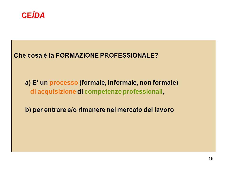 16 Che cosa è la FORMAZIONE PROFESSIONALE? a) E un processo (formale, informale, non formale) di acquisizione di competenze professionali, b) per entr