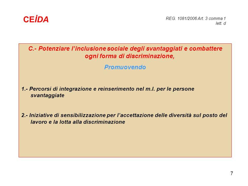 7 C.- Potenziare linclusione sociale degli svantaggiati e combattere ogni forma di discriminazione, Promuovendo 1.- Percorsi di integrazione e reinser