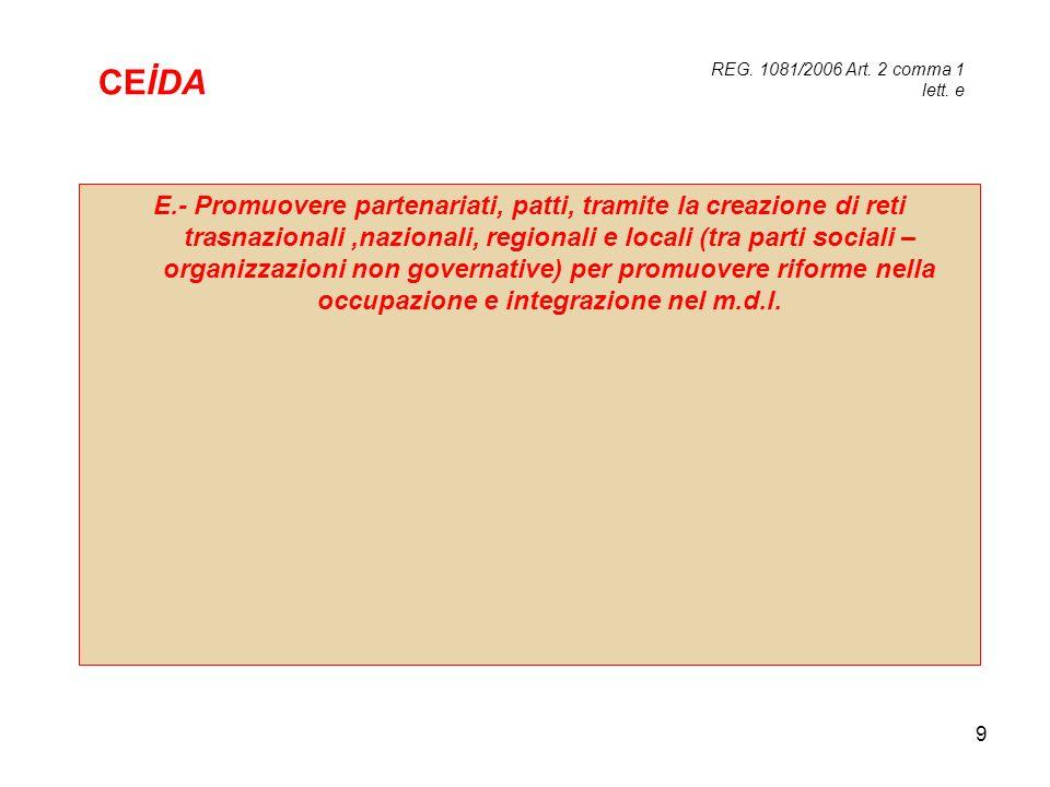 9 E.- Promuovere partenariati, patti, tramite la creazione di reti trasnazionali,nazionali, regionali e locali (tra parti sociali – organizzazioni non