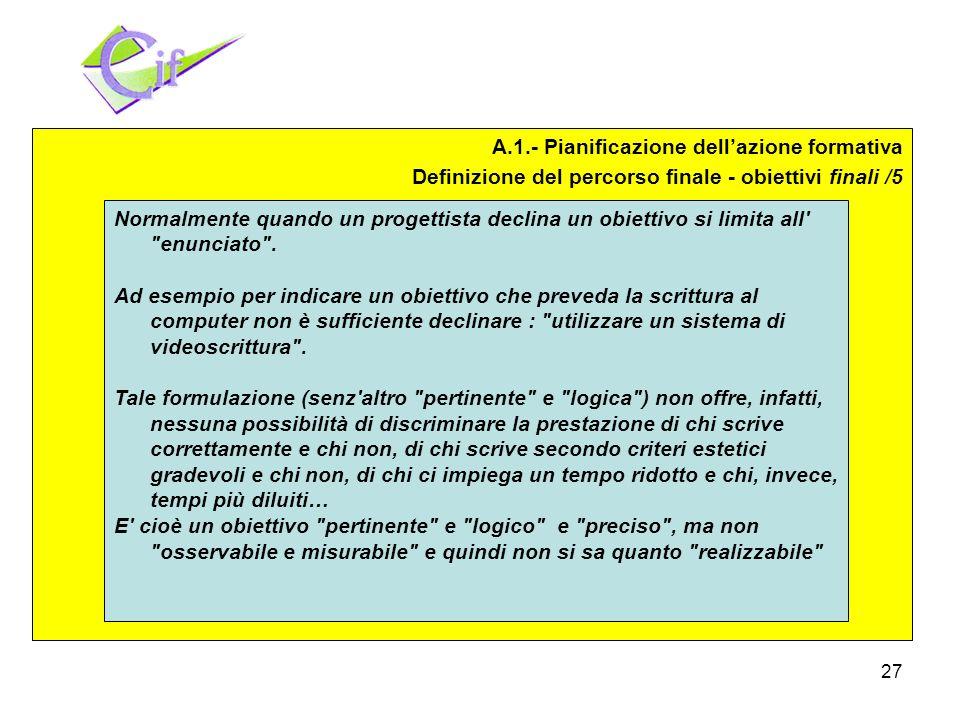 27 Pianificazione Realizzazione Valutazione A.1.- Pianificazione dellazione formativa Definizione del percorso finale - obiettivi finali /5 Normalmente quando un progettista declina un obiettivo si limita all enunciato .