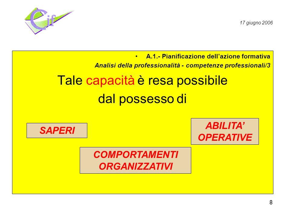 8 Pianificazione Realizzazione Valutazione A.1.- Pianificazione dellazione formativa Analisi della professionalità - competenze professionali/3 Tale capacità è resa possibile dal possesso di ABILITA OPERATIVE COMPORTAMENTI ORGANIZZATIVI SAPERI 17 giugno 2006