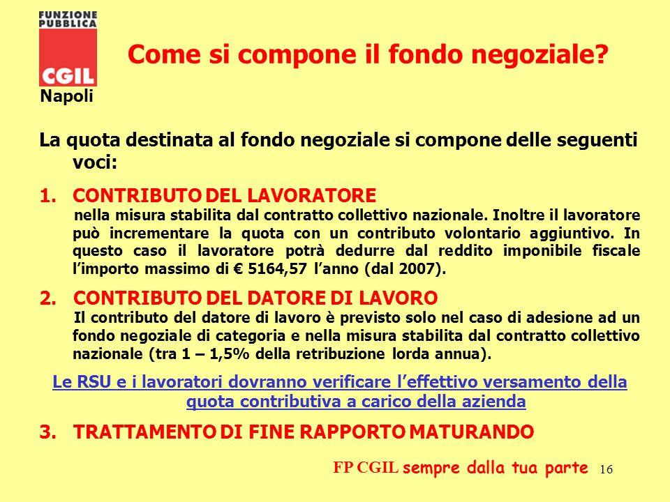 17 Napoli FP CGIL sempre dalla tua parte Ladesione Ladesione ad un fondo pensione negoziale è volontaria.