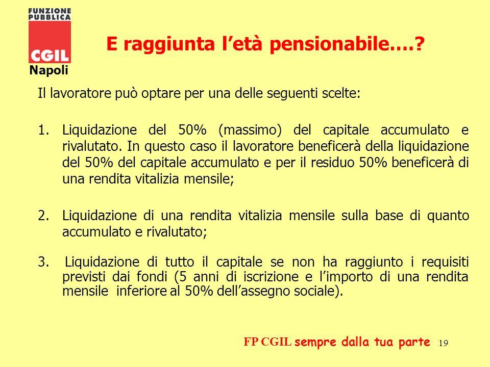 20 Napoli FP CGIL sempre dalla tua parte Le prestazioni ante pensionamento le anticipazioni, il riscatto e il trasferimento Le anticipazioni Lanticipazione è lerogazione di una parte della posizione individuale accumulata prima del raggiungimento del diritto alla pensione.