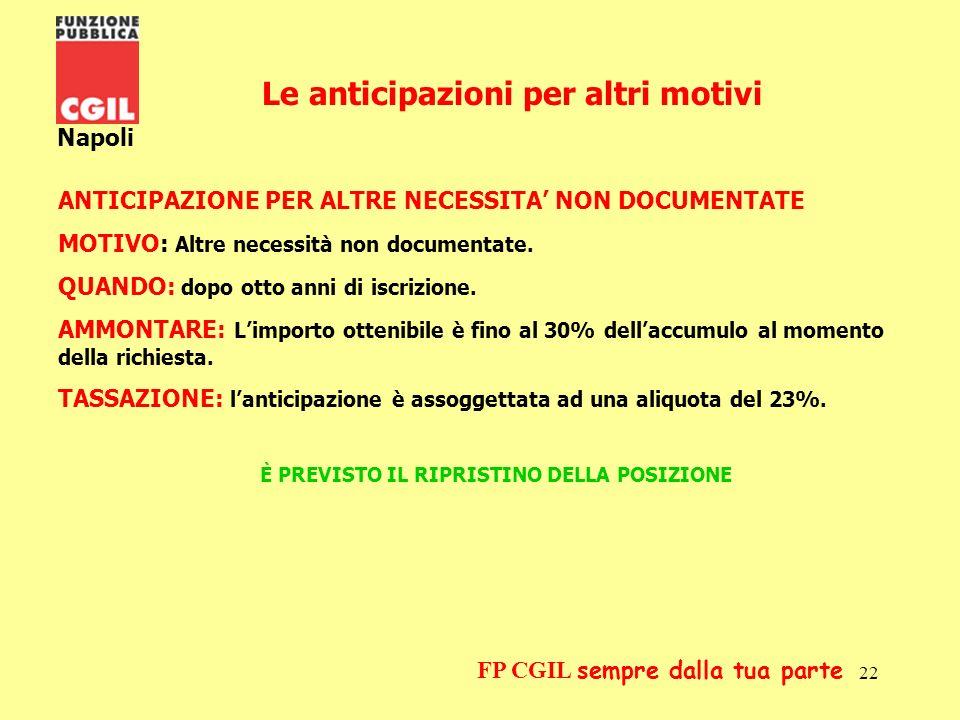 23 Napoli FP CGIL sempre dalla tua parte Il riscatto è il rimborso da parte del fondo, a cause di determinate condizioni, del capitale accumulato.