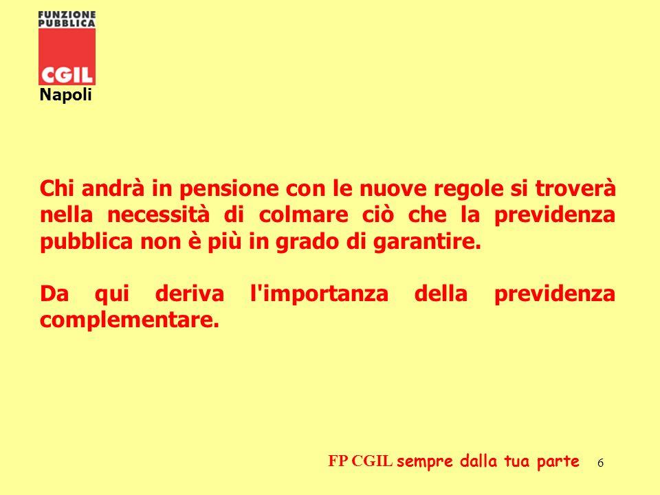 7 Napoli FP CGIL sempre dalla tua parte PER UNA SCELTA CONSAPEVOLE DELLA DESTINAZIONE DEL PROPRIO TFR La Finanziaria 2007 ha anticipato al 1° gennaio 2007 quanto previsto dal Decreto Legislativo n.252/2005, ciò significa che, a decorrere dal 01.01.2007, i lavoratori decideranno se destinare il loro TFR maturando non solo ai fondi negoziali di categoria, ma anche ai fondi aperti e alle varie forme assicurative, ovvero decideranno se destinare tutto o in parte il TFR maturando alla previdenza complementare o se intendono mantenere il TFR come tale.