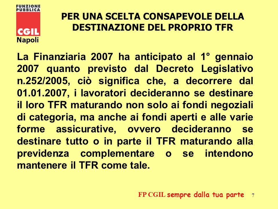 8 Napoli FP CGIL sempre dalla tua parte Il Trattamento di Fine Rapporto è lemolumento corrisposto dal datore di lavoro al termine del rapporto di lavoro (la liquidazione).
