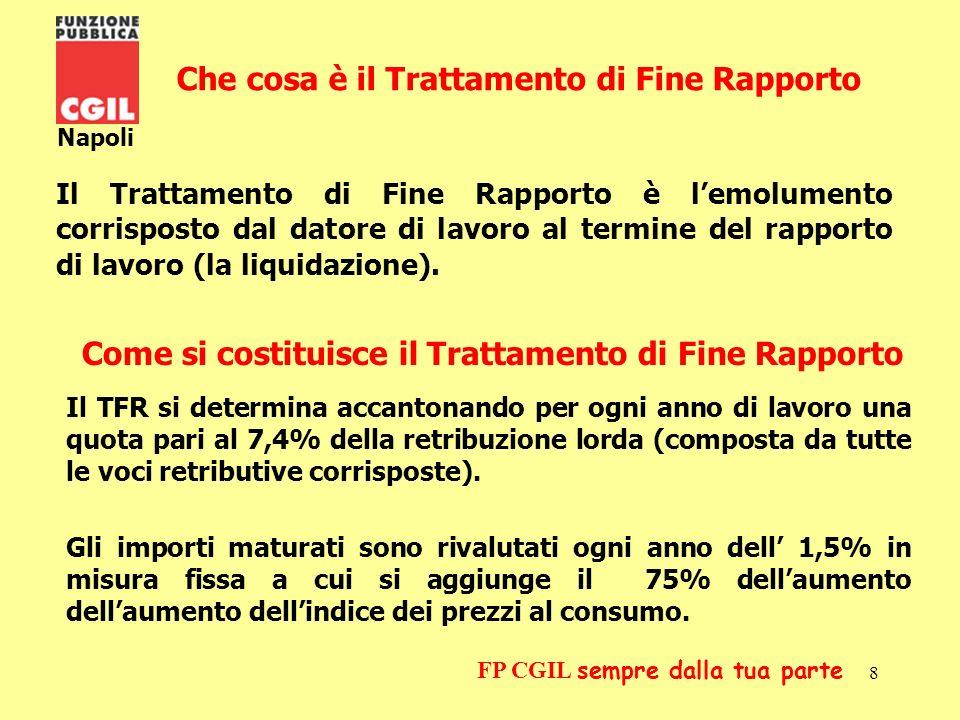 9 Napoli FP CGIL sempre dalla tua parte La scelta della destinazione del T F R La Finanziaria 2007 ha stabilito che ogni lavoratore dipendente potrà scegliere la destinazione del proprio TFR entro 6 mesi dalla data di assunzione o, per coloro già in servizio al 01.01.2007, entro il 30.06.2007.