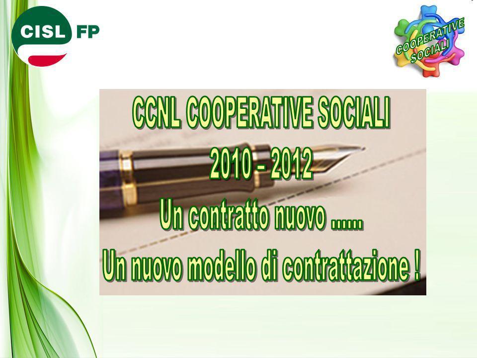 CCNL COOPERATIVE SOCIALI 2010 – 2012 Un contratto nuovo …… Un nuovo modello di contrattazione .