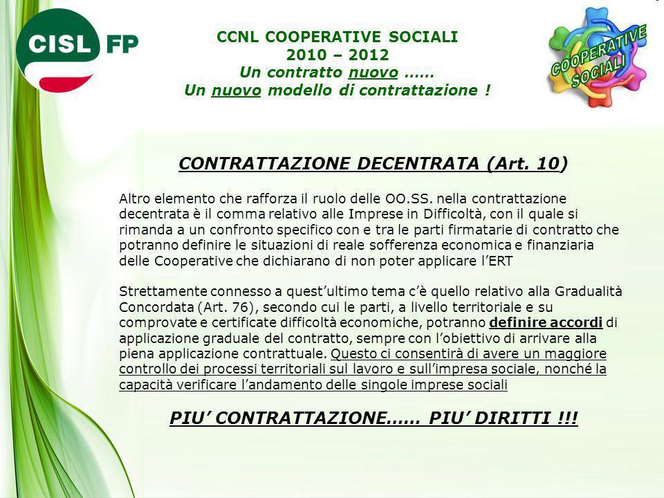 CONTRATTAZIONE DECENTRATA (Art. 10) Altro elemento che rafforza il ruolo delle OO.SS. nella contrattazione decentrata è il comma relativo alle Imprese