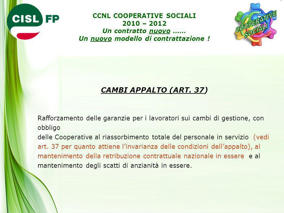 CAMBI APPALTO (ART. 37) Rafforzamento delle garanzie per i lavoratori sui cambi di gestione, con obbligo delle Cooperative al riassorbimento totale de