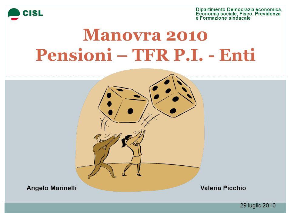 Manovra 2010 Pensioni – TFR P.I. - Enti Valeria PicchioAngelo Marinelli Dipartimento Democrazia economica, Economia sociale, Fisco, Previdenza e Forma