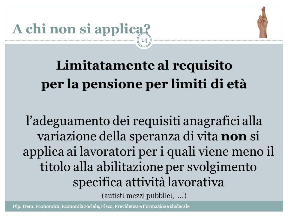 A chi non si applica? Limitatamente al requisito per la pensione per limiti di età ladeguamento dei requisiti anagrafici alla variazione della speranz