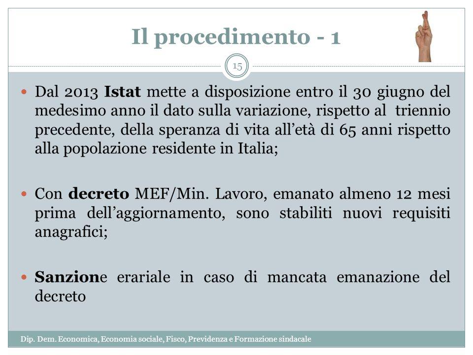Il procedimento - 1 Dal 2013 Istat mette a disposizione entro il 30 giugno del medesimo anno il dato sulla variazione, rispetto al triennio precedente